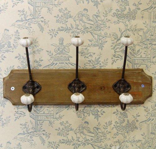 Bowley & Jackson 3Reihen Wand montiert Kleiderhaken auf Holz Sockel. -