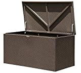 ShelterLogic XXL Kissenbox, Gartenbox, Gartentruhe Espresso 509l Volumen//132x70x67 cm (LxBxH)//Auflagenbox & Multifunktionsbox