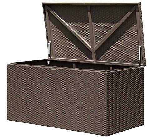ShelterLogic XXL Kissenbox, Gartenbox, Gartentruhe Espresso 132x70x67 cm (LxBxH) Auflagenbox &...