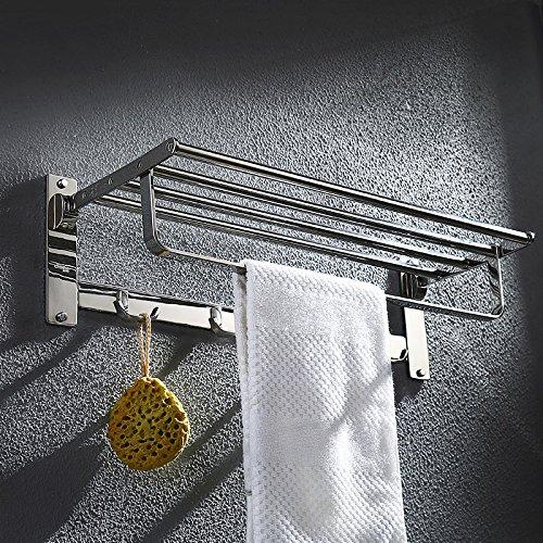 ZHGI Acciaio inossidabile doppia imbottita pieghevole porta asciugamani bagno bagno accessori (Peltro Spazzolato Due Luce)