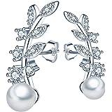MICGIGI Orecchini da donna eleganti a forma di foglia, in argento Sterling 925 con zirconi, perla da 5 mm (argento)