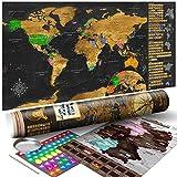 murando - Rubbelweltkarte englisch XXL - 100x50 cm - Set mit Deutschlandkarte - Weltkarte zum Rubbeln mit Länder-Flaggen - Laminiert - Design Geschenk-Tube - Viele Extras - Rubbel Landkarte Poster zum freirubbeln - Geschenk Idee - World Map - k-A-0229-o-b