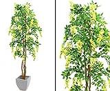 Goldregenbaum Kunstbaum, 1512 gelben Blüten, 2160 textile Blätter, mit Zementtopf, Höhe 240cm, - künstliche Bäume Blütenbäume