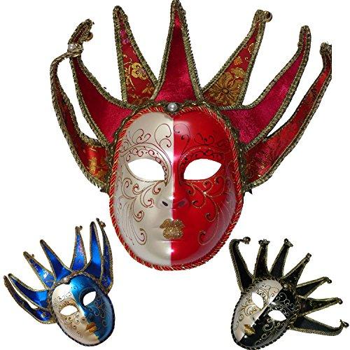 S2/Venezianische Maske Jocker. Zeichen Spitze-Stift Glöckchen. Rot und (Masken Masquarade)