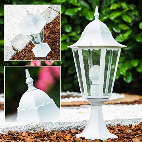 Sockelleuchte in Weiß - Aussenlampe - Pollerlampe aus Aluguß und Glas - Schutzart IP44 - Wegeleuchte für den Garten