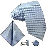 GASSANI 3-SET Blaue Krawatte Streifen gestreift | Binder Hell-Blau Manschettenknöpfe Einstecktuch | Krawattenset zum Anzug Seide-Optik