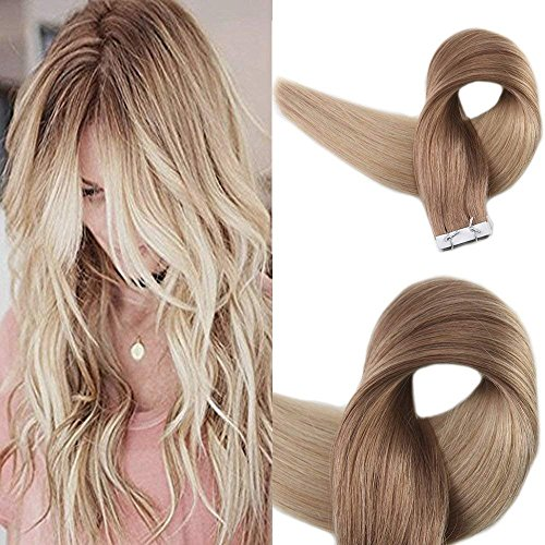 Full Shine 20 Inch Tape in Extensions Echthaar Dip-Dye # 12 Gold Blonde mit # 24 Hellblonde Echthaarverlängerung 20Pcs / 50g Ombre Haar Extensions Blonde