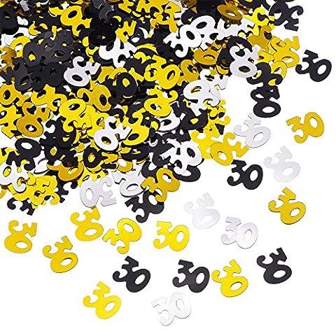 Shappy Nummer 30 Glitter Konfetti für 30. Geburtstag Jubiläums Party Supplies Tischdekoration, 50 g (1,76 Unzen)