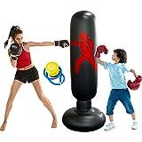 Sacco da Boxe da terra Gonfiabile 160cm,Colonna Tumbler per Fitness Pratica di Taekwondo,Alleviare lo Stress per Bambini e Ad