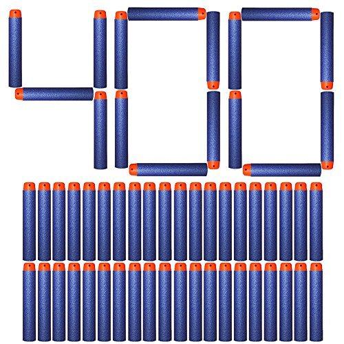AMOSTING 200/300/400/500pcs 2.84in (7.2CM) Espuma Dardos estándar universal refillround Head Bullet Pack para la mayoría de Nerf N-strike Elite serie Blasters juguete pistola de mano, color azul