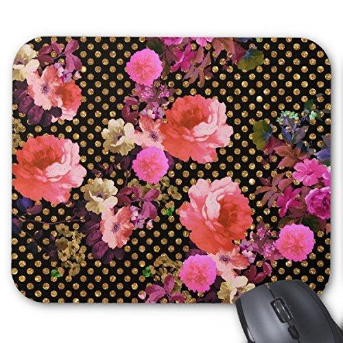 lisierte Mauspad Customized Elegante rosa Vintage Blumen schwarz gold Polka Dots Maus Pad ()