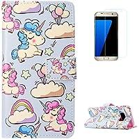 KaseHom Samsung Galaxy S8 + [Protector de Pantalla] Dibujos Animados Estuche Billetera de Cuero Folio con Ranuras para Tarjetas y Cubierta Flip magnética Slim Anti-Arañazos Case - Unicornio Arcoiris