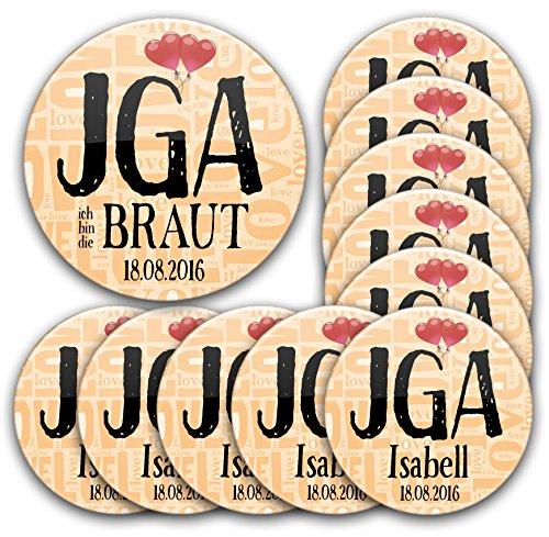 11er Set personalisierte JGA Buttons #3: 1 Braut Button 76 mm + 10 Anstecker in Ø 5,6 cm mit Name und Datum individualisiert für Junggesellinnenabschied