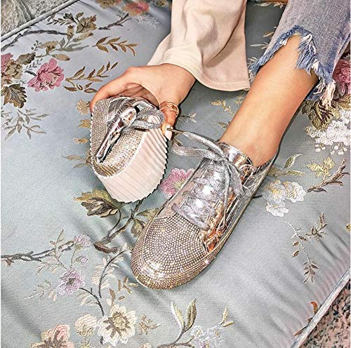 QIMITE Espadrilles,Fashion Freizeitschuhe Diamond Frauen Schuhe Schnürschuhe Flache Schuhe Zapatillas Mujer Frauen Wohnungen Schuhe Frau Silber, Bild, 38