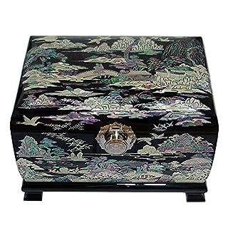 Perlmutt Inlays Asien Landschaft Malen aus Holz, handgemacht, lackiert, Halskette Ohrringe-Schmuckschatulle Box Chest Organizer-Tasche