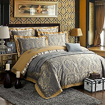 Zangge Bedding Luxury Satin Jacquard Bedding Sets - cheap UK light store.