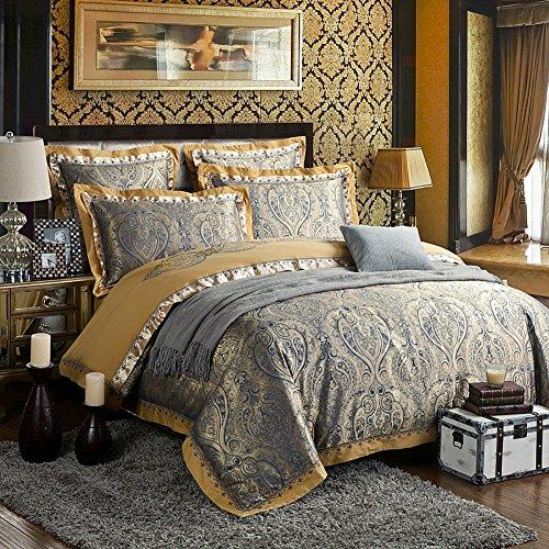 zangge bedding luxury satin jacquard paisley bedding sets include 1 duvet cover 1 flat sheet 2 pillowcases 2 throw pillow covers 6pcs king size