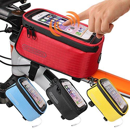 Joy Bunte Fahrrad Taschen Fahrrad Front Tube Rahmen Radfahren Pakete 10,7cm Touchscreen Handy Taschen Professionelle Fahrrad Accessoires, Herren damen, rot -