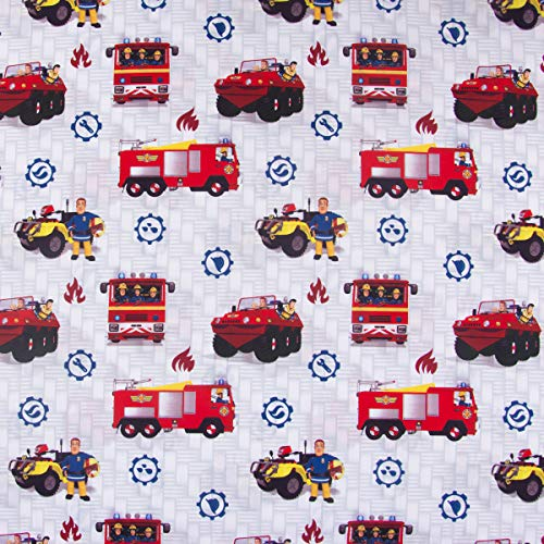 SCHÖNER LEBEN. Baumwollstoff Feuerwehrmann Sam Jupiter hellgrau rot blau 1,4m Breite -