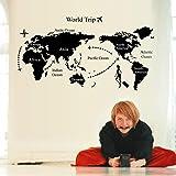ملصقات جدارية فنية بشكل خريطة العالم لون اسود وتصميم بسيط لتزيين الغرف (الصقها بنفسك) - قص معدني، رحلة
