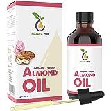 Mandelolja söt 120ml - 100% organisk, kallpressad, vegan - Almond Oil anti-aging serum för ansikte, anti-rynkor, kropp, hår,