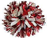 Paire: Pom-pom girl métallique Cheerleading Pompons avec bâton poignée (-Argent Holographique / Rouge Métallique-)