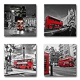 London England - Set B schwebend, 4-teiliges Bilder-Set je Teil 19x19cm, Seidenmatte moderne Optik auf Forex, UV-stabil, wasserfest, Kunstdruck für Büro, Wohnzimmer, XXL Deko Bild