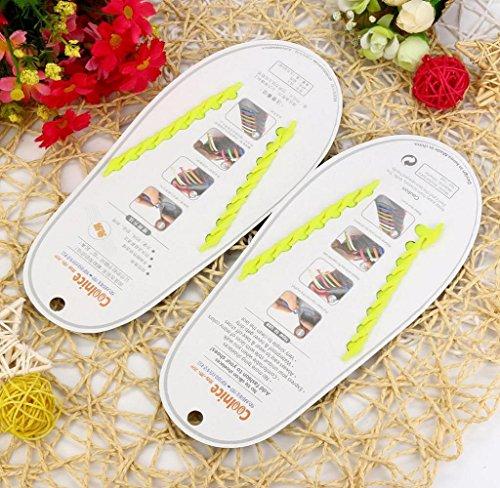 Amcool 16 Stk / Set Unisex Keine Krawatte Schnürsenkel Elastisches Silikon Schuh Schnürsenkel passen alle Sneakers Gelb