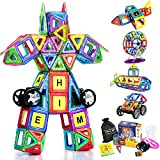 Magnetic Building Blocks, Loori 100 Pcs Magnet Blocks Set, Kids Magnetic Toys Construction Stacking kits, Building Tiles Blocks for Creativity Educational, Come with Carrying Bag