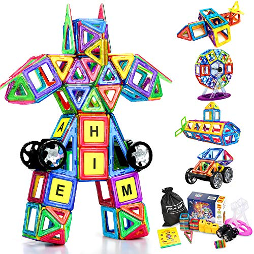 LOORI Magnetic Building Blocks, Magnetic Building Blocks 3D with Plastic Letter and Number, Educational Toy -100 Pieces