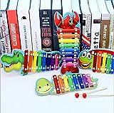 Whyyudan Musikalische Spielzeug-Instrument-Geschenke 8-Ton Xylophon Handschlag aus Holz Xylophon Knock PianoToy zum Erlernen von Musik (Schildkröte)