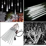 NuteDawn 30cm 10 Tubo 300 LED de Meteoros Lluvia Luces Impermeabilizan Cadena para Fiesta de Boda de Decoración del árbol de Navidad (30CM-300LEDs, Blanco)