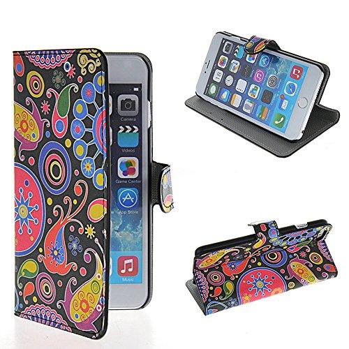 iPhone 6 Plus Schutzhülle,COOLKE [001] [Colour Flower] Flip Cover für Apple iPhone 6 Plus (5.5 Inch) Schutzhülle Hülle Schutzschale Schale Handytasche Tasche Etui Case 008