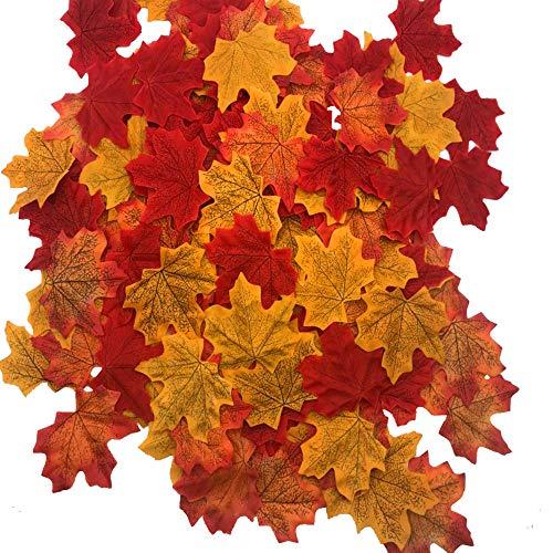 Fujie 300 pezzi artificiali foglie d' acero foglie autunno autunno maple leaves colori autunnali foglie di acero autunnali di seta foglia misti ghirlanda matrimonio casa decorazioni