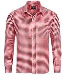 Tracht & Pracht - Uomo Cotone Camicia Bavarese Tradizionale a Quadri Rosso - XXXL