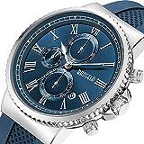 Herren-Armbanduhr Edelstahl Casual Marineblau Silikon Chronograph wasserdicht