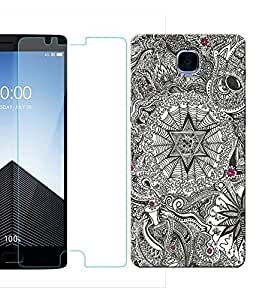 Indiashopers Combo of Black Art HD UV Printed Mobile Back Cover and Tempered Glass For OnePlus 3