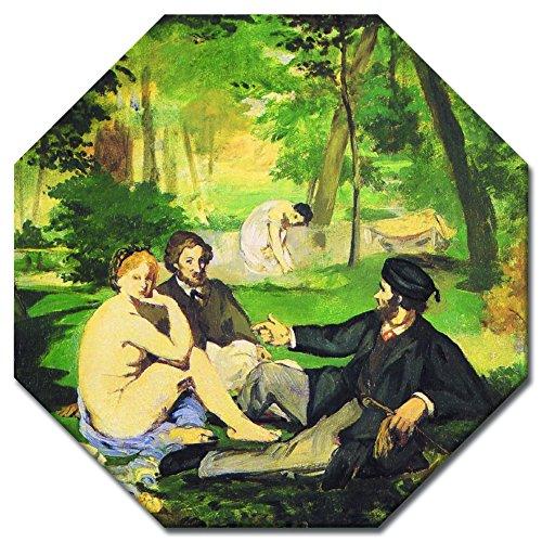 Wandbild Édouard Manet Das Frühstück im Grünen - 50x50 cm Achteck - Alte Meister Berühmte Gemälde Leinwandbild Kunstdruck Bild auf Leinwand
