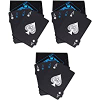 PROTOS INDIA.NET Poker Playing Cards Waterproof Unique Black Good Quality Plastic Colorful Deck, Set of 3 (52+2)