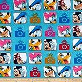Disney Fleece Mickey und Friends Kamera Blau Fabric by The