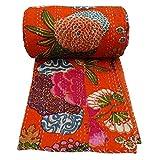 Bhagyoday Kantha Überwurf Decke Quilt Tagesdecke fürs Bett, indische Baumwolle, Vintage-Stil, handgefertigt, wendbar, Bettunterlagen, Betten-Gudari, 228,6x 274,3cm