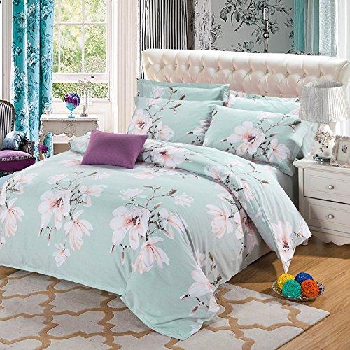 BB.er Baumwolle gebürstet drucken Bettwäsche 4-Teiler Bettwäsche Bettbezug Kopfkissenbezug, Licht Bean grün, 200 * 230 cm (Licht Teiler)