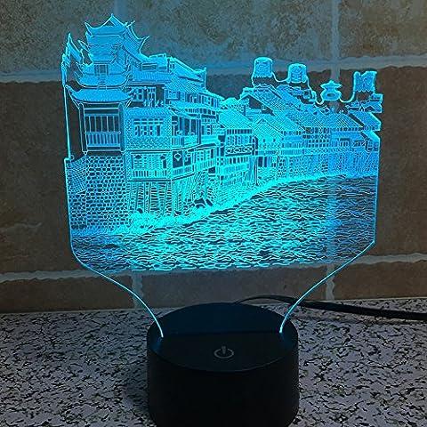 Illusione 3d lampada luce notturna jawell Phoenix Città 7Cambiare colore Touch USB tavolo regalo giocattoli