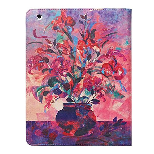 Ipad 2 3 4 Wallet Cover, Ipad 2 3 4 Flip Leather Case Back Cover, Ukayfe Stand Function PU Leather Case Premium Soft Slim Cover Bookstyle with Magnet Closure Credit Card Holder Slots for Apple iPad 2  Vase-painting