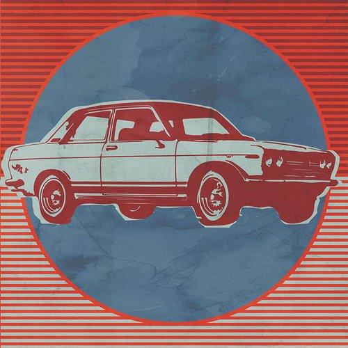 Kleister Art Poster, dass Stick Wand Aufkleber Retro Ride rot Auto von Paste Gesicht,, 28von 71cm