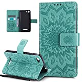 Coque Wiko Lenny 2,Etui Wiko Lenny 2,ikasus Embosser Gaufrage fleur soleil Housse Cuir PU Housse Etui Coque Portefeuille Protection supporter Flip Case Etui Housse Coque pour Wiko Lenny 2,Vert