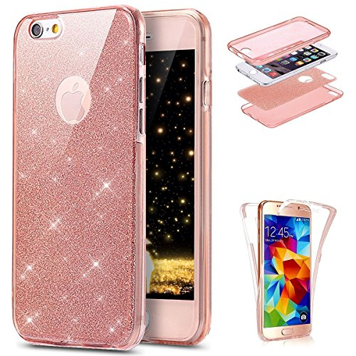 Cover iPhone 7 / 8 - Custodia in Silicone TPU 370 Grado di Protezione - Surakey Full Body iPhone 7 Custodia Bling Bling Glitter Sparkle Slim Ultra Sottile Gomma Morbida Gel Case Antigraffio Antiurto 3 Glitter Rosa