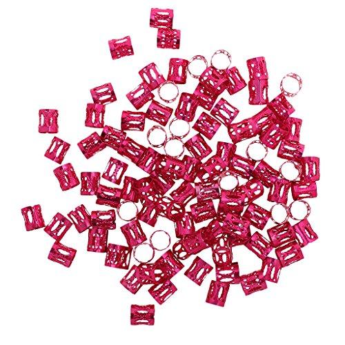 Hellery 100 Stücke Dreadlock Beads Dread HAARRINGE Manschette Rohr Clip Haar Styling Flechter 8mm - rosarot, one Size