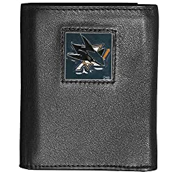 San Jose Sharks® Deluxe Leather Tri-fold Wallet Packaged in Gift Box