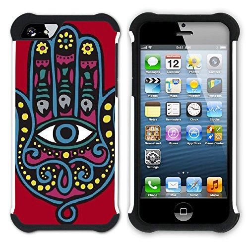 Graphic4You Hamsa Hand der Fatima Hart + Weiche Kratzfeste Hülle Case Schale Tasche Schutzhülle für Apple iPhone SE / 5 / 5S Design #13